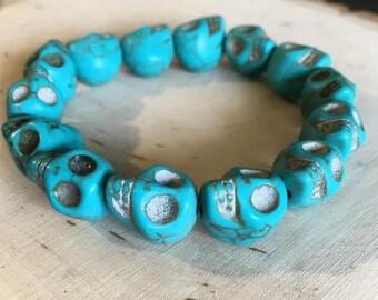 Elastic Turquoise Inspired Tibetan Skull Bracelet