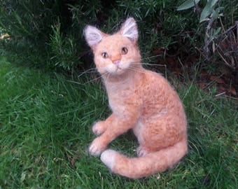 OOAK needle felted ginger cat