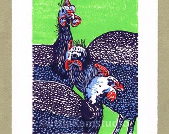 Confusion of Guinea Fowl -Limited Edition Linocut Print - Contemporary Fine Art