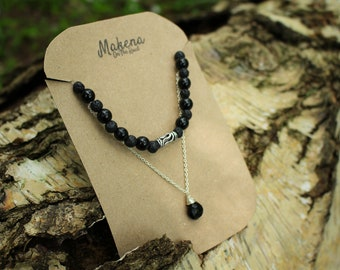 Queen of the Night - Black Lanzarote Lava and Czech Glass Necklace
