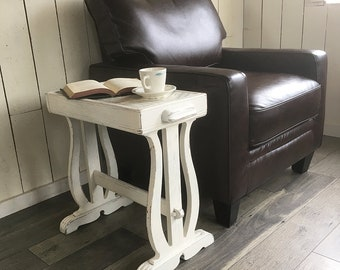 """Upcycled Oak Organ Bench Turned Shabby White End Table, Side Table """"Great for Music Room or Church-Themed Decor"""""""