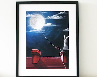 Bunny in the Moon Art Print - Limited Edition high quality art