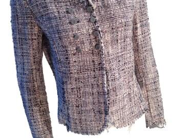 Designer Silver Metallic Tweed Jacket - Size Medium