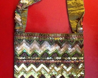 Vintage Green and Gold Chevron Sequins Bag
