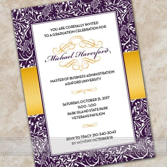 graduation invitations, royal purple graduation invitations, gold graduation announcement, gold graduation, college graduation, IN670