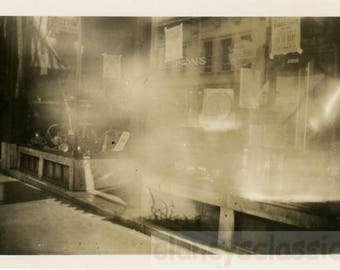 Vintage Snapshot 1921 Abstract Unusual Night Light Store Window