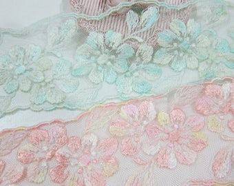 1yrd-Embroidery Tulle Lace/NBD146-Embroidered Floral Lace/Flowering Tulle Lace
