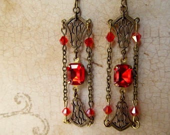 Art Deco Earrings Vintage Art Nouveau Jewelry Great Gatsby Bridal Earrings Red Wedding Earrings Miss Fisher- Sassy