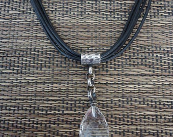 """SILPADA Faceted Quartz and Sterling Pendant on 5-Strand Leather Cord, 16 - 19"""", Catalog Number N1494"""