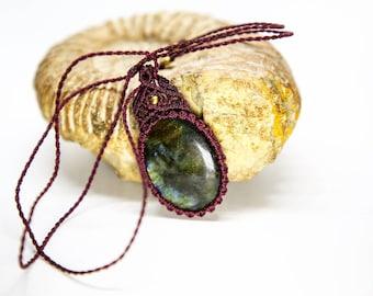 CORA. Macrame necklace Chrysocolla, necklace for women, necklace stone, macrame jewelry, micromacrame jewelry, gemstone,mystic stone jewelry