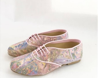 SALE Pony Oxford Vegan Pastels Marbled Fabric (Ready to Ship)