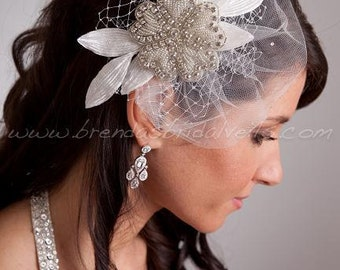 Crystal Rhinestone Beaded Flower Bridal Hair Piece with Vintage Velvet Leaves, Tulle Pouf, Netting Accents - Phoenix