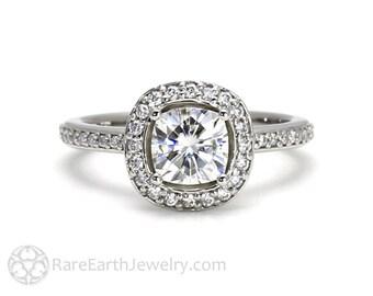 Cushion Moissanite Halo Engagement Ring Forever One Moissanite Ring Platinum or Palladium Conflict Free Wedding Ring