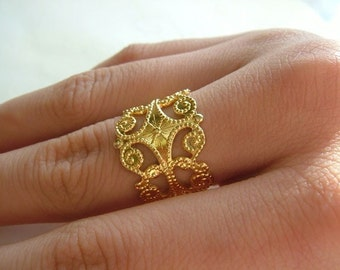 5 pieces of Adjustable Gold Plated Victorian Filigree Rings