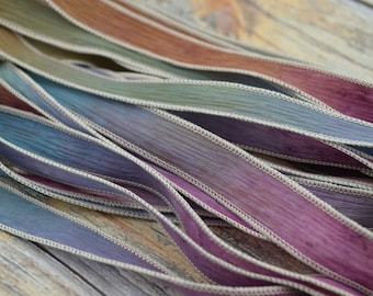 EARLY HARVEST 5 Silk Ribbons Hand Dyed and Sewn Watercolor Jamnglass. Silk Ribbon for Jewelry, Necklaces and Bracelet Wraps
