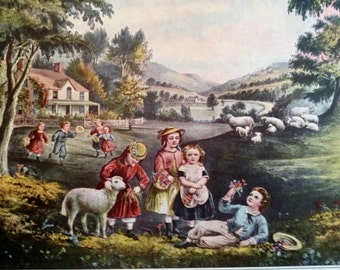 Seasons of Life Childhood Print 1952 Currier & Ives Print 1800s Reprint to Frame 11 x 15