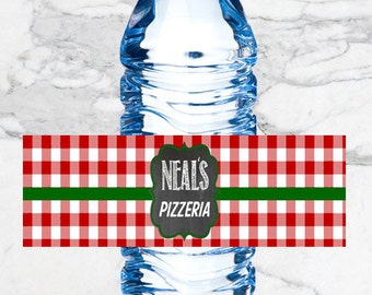 Pizza Party Water Bottle Labels Digital Download and Printed Options Available