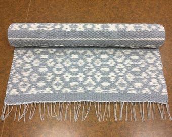 Gray White rug, Scandinavian rug, runner rug,  woven rug, modern rag rug, nursery rug, washable cotton rug, bedroom rug, Swedish rug
