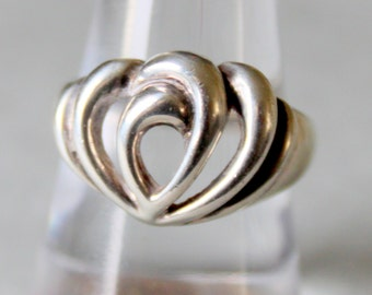 Sterling Silver Ring Thick 925 Heart ring Vintage