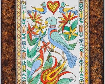 Original Fraktur Water Color - Birds of Paradise