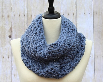 Light Blue Infinity Scarf, Blue Loop Scarf, Blue Scarf, Blue Crochet Scarf, Blue Chunky Scarf, Blue Scarves, Blue Women's Scarf, THE ALBANY