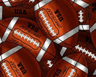 """Packed Footballs from David Textiles, by the half yard, 44"""" wide, 100% cotton, novelty fabric, football fabric, sports fabric"""
