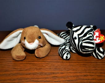 Vintage 1995 BEANIE BABY Lot~ 1995 Ears the Bunny Rabbit ~ 1995 Ziggy The Zebra ~ TY Toys Stuffed Animal Gifts for Children