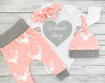 Baby Girl Clothes, Baby Girl Coming Home Outfit, Baby Girl Clothes Newborn, Baby Girl, Coming Home Outfit Deer, Baby Girl Clothes Newborn
