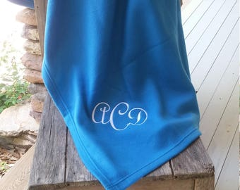 Personalized Fleece Stadium Blanket, 9.3 oz, with Three Letter Monogram
