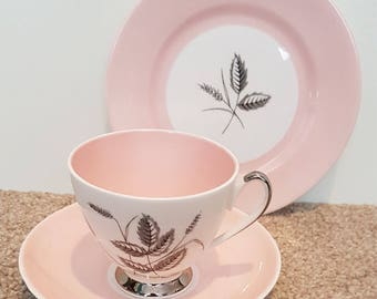 Queen Anne Harvest Pink trio - cup, saucer and side plate. Vintage from 1950's.