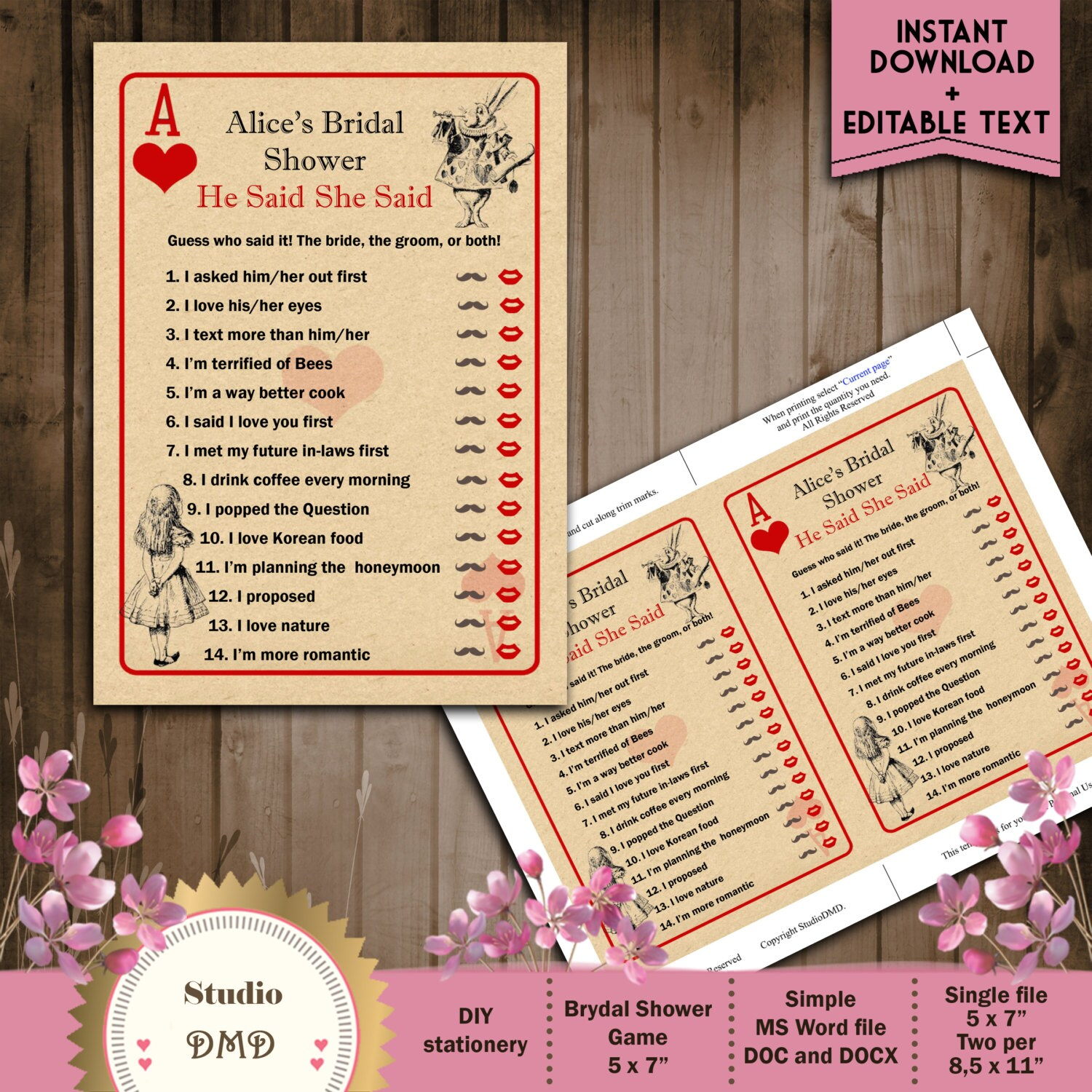 He Said She Said Printable Bridal Shower Game Alice in