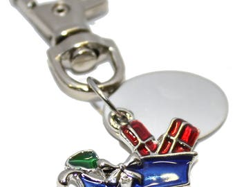 Engraved personalised colourful Santa Christmas sleigh charm keyring pouch LT21