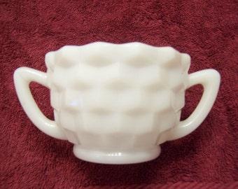 Vintage sugar bowl Hazel Atlas white milk glass Cubist style sugar bowl