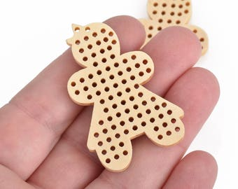 "4 Cross Stitch WOOD BLANK Shapes, GIRL 2"" long, make your own embroidery charm pendant, Cho0217"