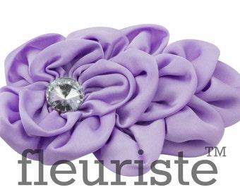 Lavender Satin Flower, Rhinestone Flower, Ruffle Flower, Wholesale Flower, Headband Flower, Flower Embellishment, DIY flower, Satin Flower