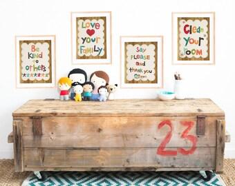 Good Manners Set of Four 8x10 Childrens Wall Art Prints, Kids Room, Nursery Wall Art, Kid's Art, Gender Neutral Nursery