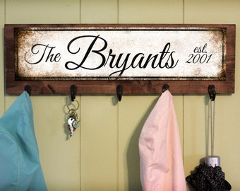 "Wood Key/Coat Hanger with Custom Metal Sign // 9"" x 24"" Overall"