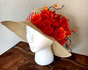 Beige and orange hat