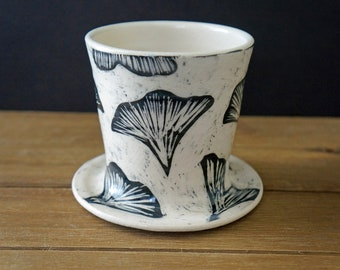 Sgraffito Pottery Pour Over Cone - Ginkgo Ceramic Pour Over Brewer - Pottery Pour Over Dripper Cone - Mother's Day Gift - Gift for Her
