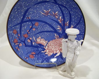 Asian Blue Decorator Plate Cherry Blossoms Bamboo Chrysanthemum Oriental Decor MCI Japan