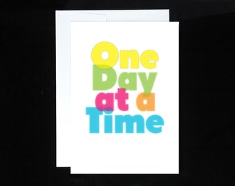 One Day at a Time Greeting Card | AA, 12 Step Recovery Gifts, Sobriety Gifts, Alcoholics Anonymous, Overeaters Narcotics