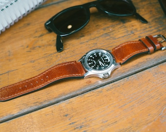 custom made leather watch strap, full vegetable leather watch strap 18mm ~24mm