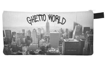 Ghetto World Cosmetic Pencil Zipper Clutch Urban City Makeup Bag