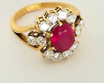 Vintage 18k solid gold,natural ruby and diamonds