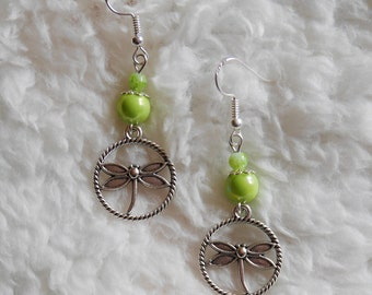 Dragonflies and green beads earrings