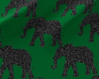 Green and Gray Elephants Fabric - Elephants On Green By Vo Aka Virginiao - Elephant Nursery Decor Cotton Fabric By The Yard With Spoonflower