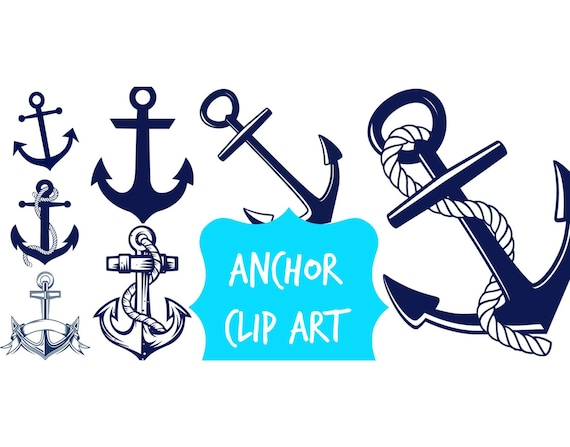 ANCHOR Clip Art Navy Blue Anchor Digital Nautical