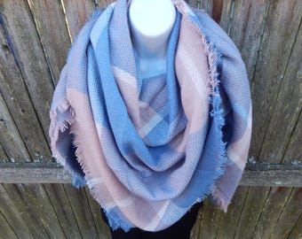 Pink / Blue / White Blanket Scarf