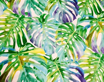 TROPICAL LEAVES 2 Palm Leaf Fabric Curtain Upholstery Cotton Material 140cm wide