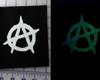 Glowing Anarchy Punk Patch Screen Printed Sew On Glow in the Dark
